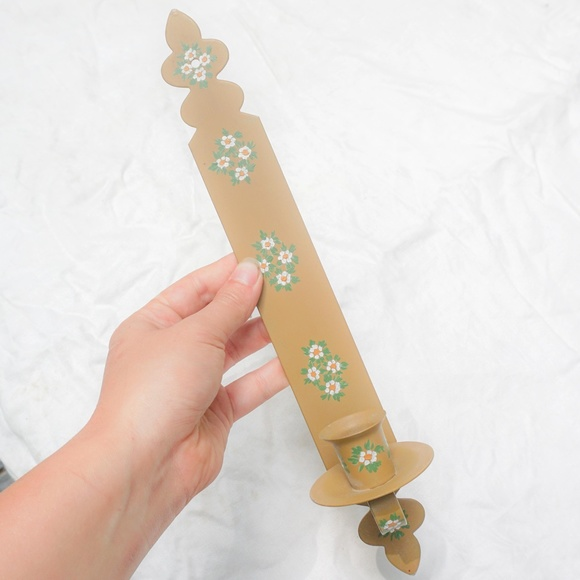 vtg 60s rustic hand painted candleholder